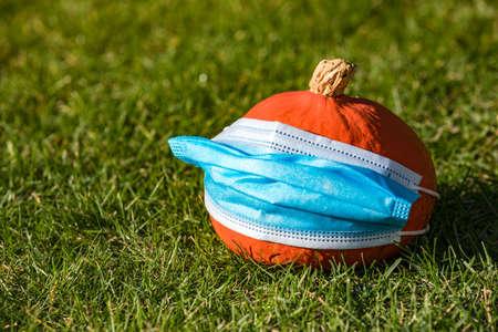 COVID-19 cartoon with a Hokkaido pumpkin wearing a protective mask