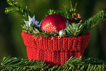A decoration for Christmas with a pine branch, pine cone and red ball isolated against a green background