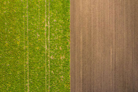 Birds eye view of tractor tracks in a green field and in a brown field in the south of Germany