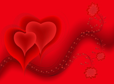 two hearts on a red wavy background with flowers and drops Vector