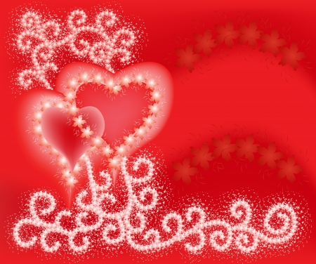 Two Hearts, bordered with flowerson the background of ornate paths of apple flowers Vector