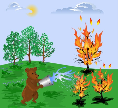 extinguish: Bear cub pours water on a burning tree, trying to extinguish the fire Illustration