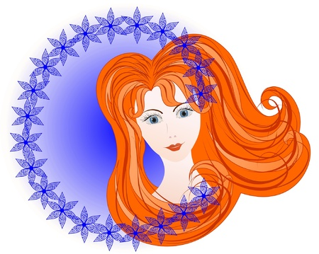 red haired woman: red-haired girl in a lavender background, bordered carved flowers  Illustration