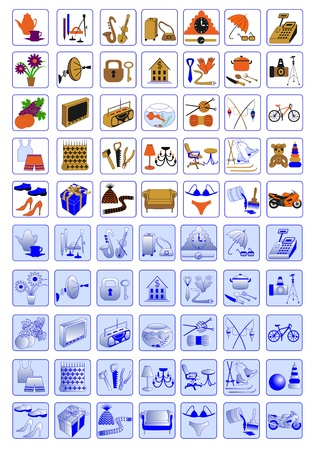 web-design icons for shopping, electronic industry, goods for recreation and entertainment Vector