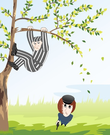 sullen: saw a policeman sitting on a tree, a criminal who escaped from prison
