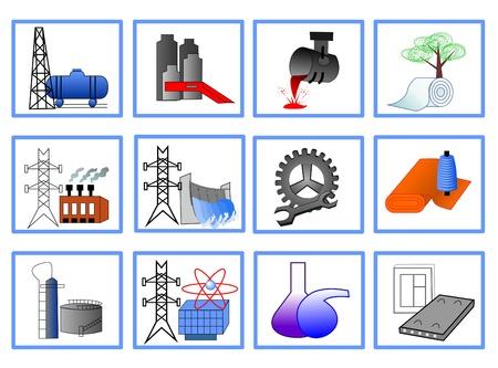 thermal power plant: Iconos para el dise�o de la industria ligera y pesada, la energ�a Vectores