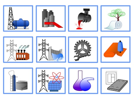 Icons for the design of light and heavy industry, energy Vector