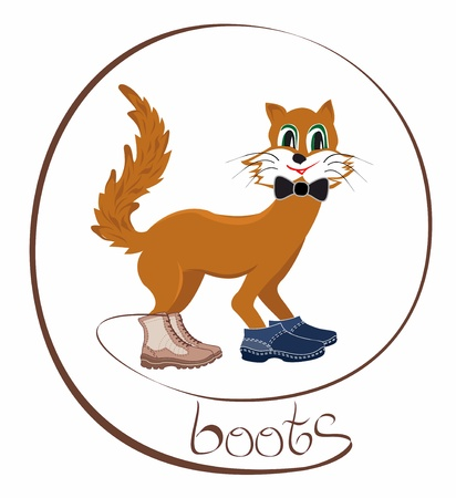 cat tries simultaneously two pairs of shoes, boots and shoes Stock Vector - 14349466