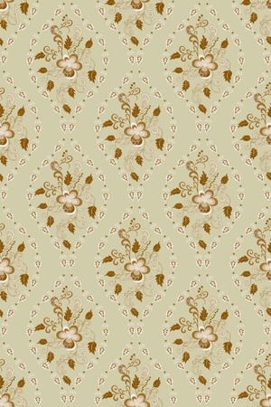 florid: brown florid pattern in bright colors deciduous ovals