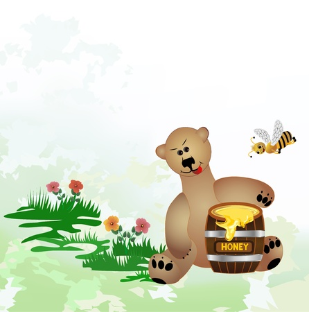 bear sitting on a floral meadow and eats honey from the barrel Vector