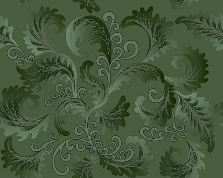 foliate pattern in the Rococo style with curls on a green background Vector