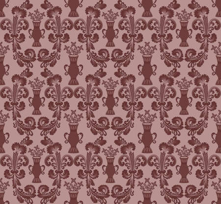 maroon oval pattern in the Rococo style with flowers in vases Stock Vector - 17853060