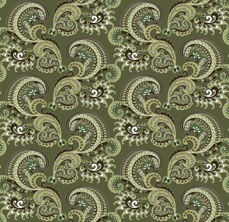 ornate pattern of small flowers and leaves in green and brown palette Vector