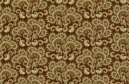scallops: pattern beige and light green color in the form of scallops on a dark brown background