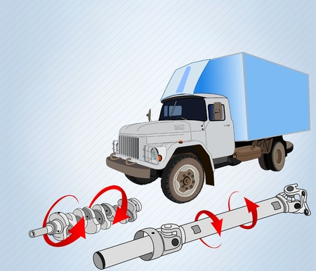 the shaft: truck with drive shaft and crankshaft with directional arrows twisting moments