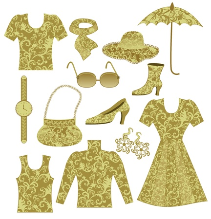 women clothing and accessories with a pattern rococo ocher color Stock Vector - 18984219
