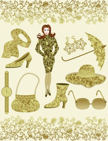 ocher: girl with accessories with rococo ocher color on leafy background