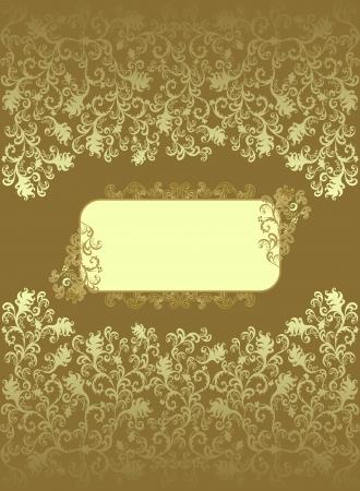 ocher: Vintage rectangular frame with  ocher color decor and floral designs on a brown background  Illustration
