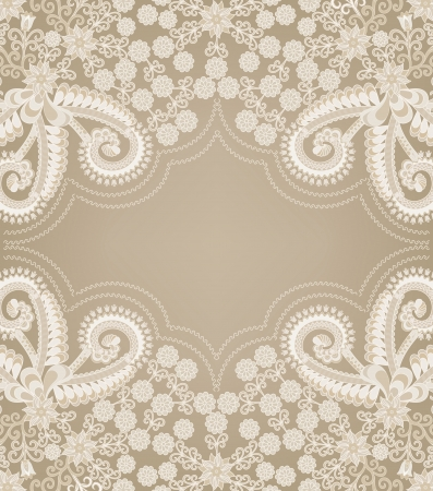 paisley pattern with figured gray frame in the center on a beige background Vector