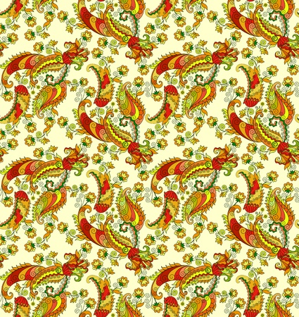 manner: bright paisley pattern in a chaotic manner on a yellow background