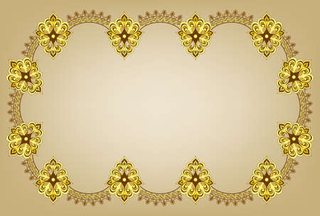 figured: figured frame in shades of yellow and brown on a beige background in oriental style