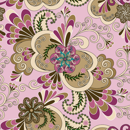 fantasia:  beige a fantasia pattern with flowers and curls on a pink background