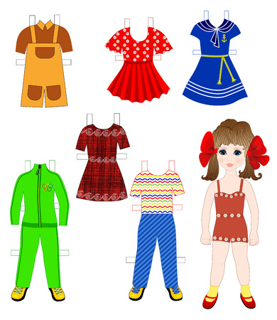 Paper doll with a set of  clothes - dresses, pants, shorts Vector