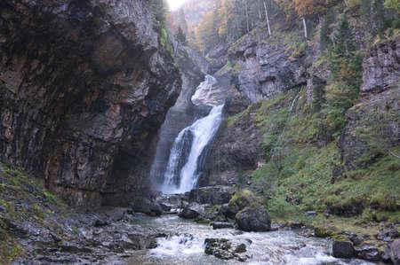 Estrecho waterfall in Ordesa y Monte Perdido National Park, in the Aragonese Pyrenees, located in Huesca, Spain. View