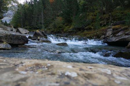 Gradas de Soaso waterfall in Ordesa y Monte Perdido National Park, in the Aragonese Pyrenees, located in Huesca, Spain. View