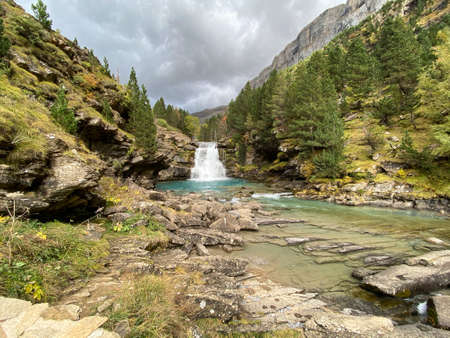 views of mountains, forests, waterfalls and natural pools in the Ordesa y Monte Perdido National Park, located in the Aragonese Pyrenees. in the province of Huesca, Spain. landscape
