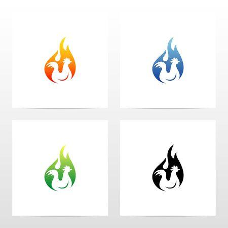 Chicken On Fire Logo Design Illusztráció