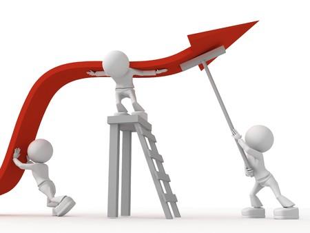 empleados trabajando: Es necesario trabajar juntos para ganar la crisis