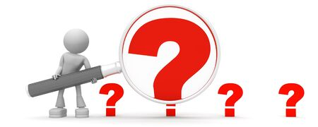persons keeps lens to enlarge question Stock Photo - 7582023