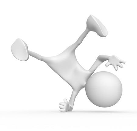 3d character breakdancer. 3d image isolated on white background.