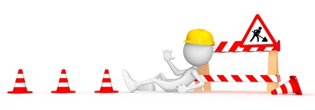 The work isnt going anywhere.  3d image isolated on white background.