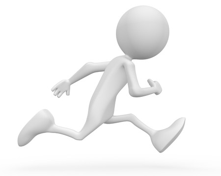 running icon: Running away. 3d image isolated on white background.