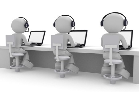 technical support: Call center. 3d images isolated on white background.