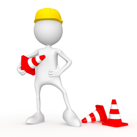 Road worker. 3d image isolated on white background. photo