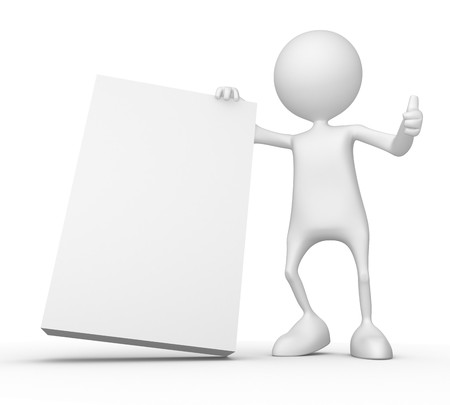 man carrying: White box.  3d image isolated on white background Stock Photo