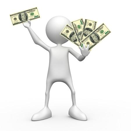 Dollars.  3d image isolated on white background. Stock Photo
