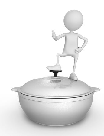 saucepan: Saucepan and person. 3d image isolated on white background. Stock Photo