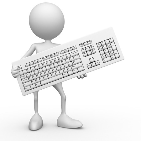 computer parts: My keyboard. 3d images isolated on white background. Stock Photo