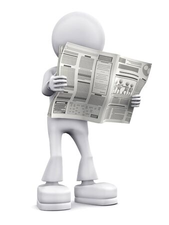 typesetting: Person read newspaper. 3d image isolated on white background.