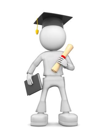 Graduate. 3d image isolated on white background.