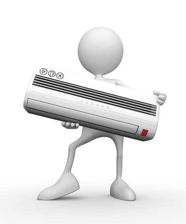 man in air: Conditioner. 3d image isolated on white background.