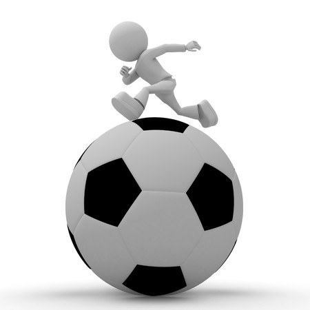 3ds: Small person runs on greater soccer ball. 3d image isolated on white background. Stock Photo