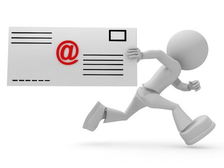 3ds: Persons with email letter. 3d image isolated on white background.