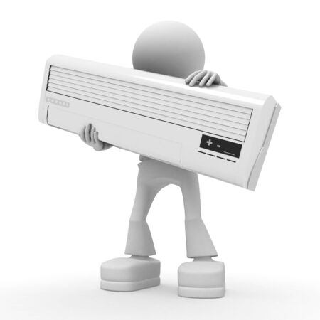 air conditioning: Persons with conditioner. 3d image isolated on white background Stock Photo