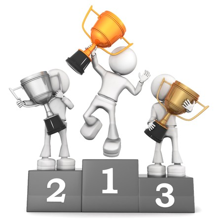 winners podium: Best of the Best. 3d image isolated on white background.