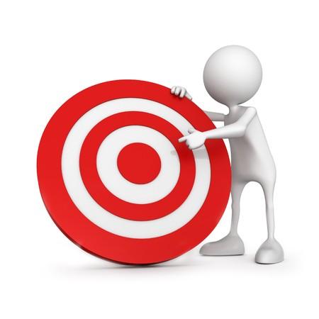 target business: El objetivo en el centro de destino. La gente peque�a irreconocible en 3D de alta calidad de procesamiento. Imagen aislado sobre fondo blanco.